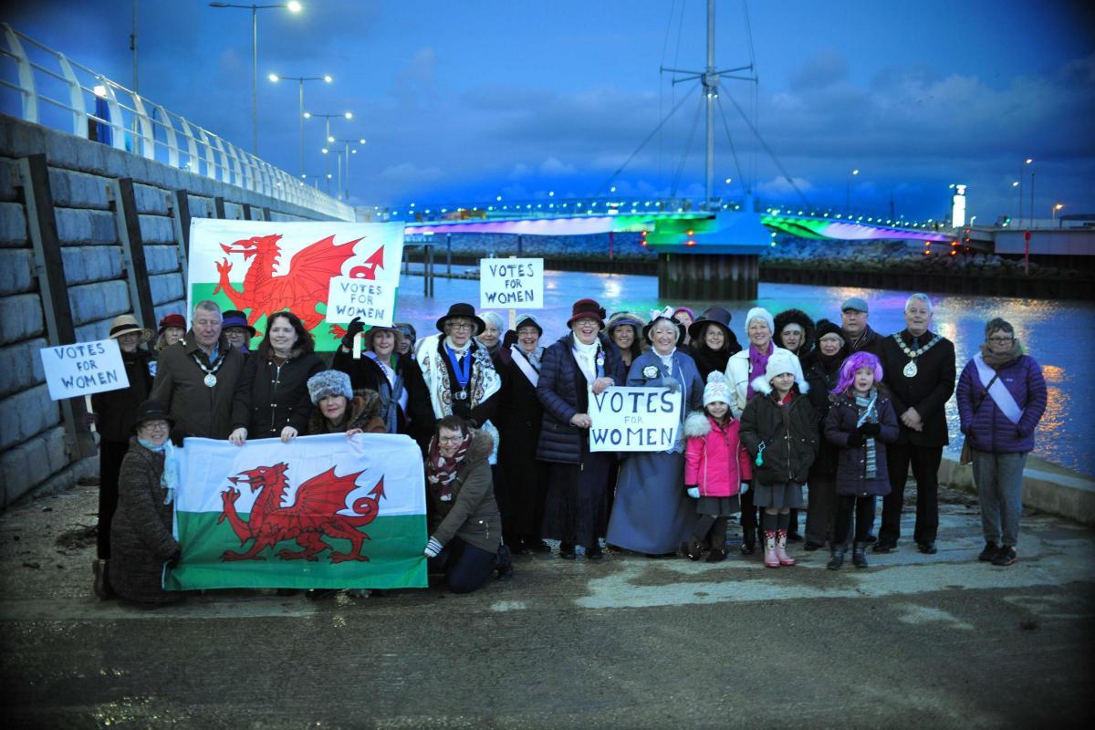 Rhyl landmarks illuminated for women's suffrage centenary