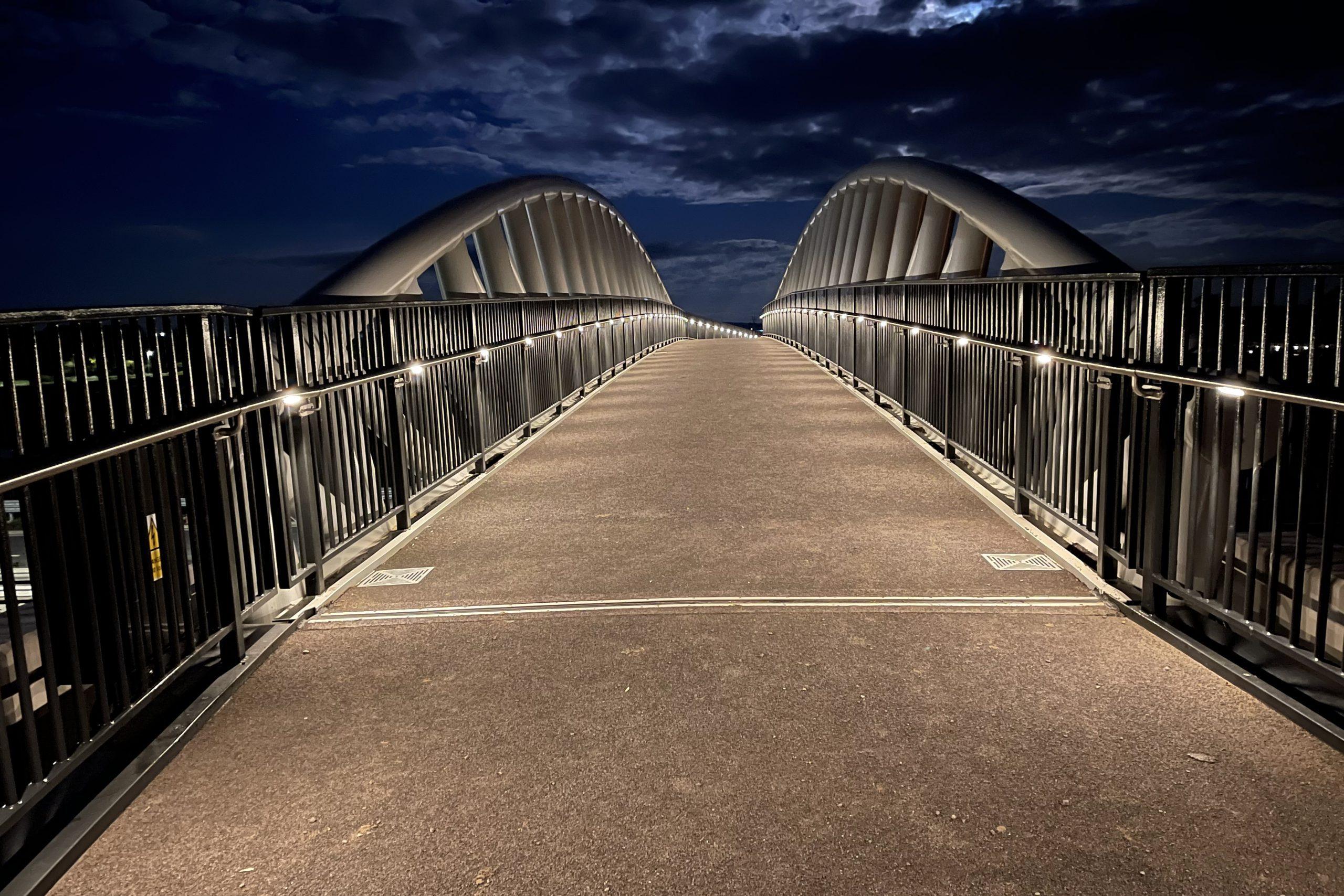 LTP Integration installs handrail lighting to new Broomhall Way Footbridge, Worcester