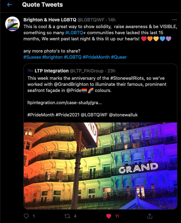 Grand Brighton Hotel - Brighton & Hove LGBTQ Twitter Comment